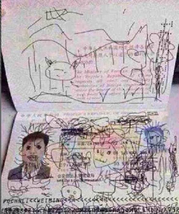 Child draws on dad's passport . credit the family please